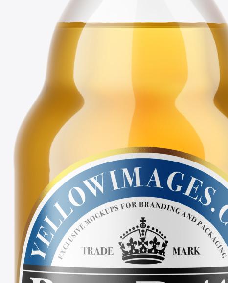Clear Glass Lager Beer Bottle Mockup