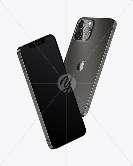 Two Apple iPhones 12 Pro Max Graphite Mockup