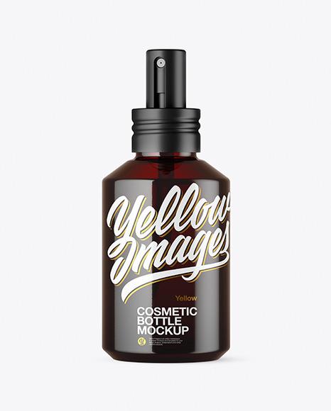 Dark Amber Glass Cosmetic Spray Bottle Mockup