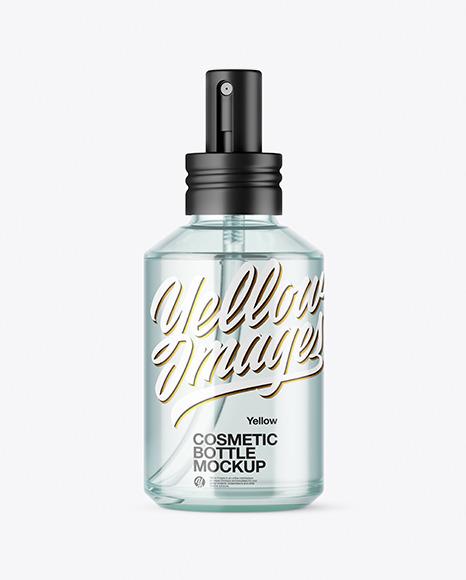 Blue Glass Cosmetic Spray Bottle Mockup