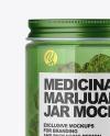Green Glass Jar w/ Weed Buds Mockup