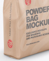 Kraft Powder Bag Mockup - Half Side View