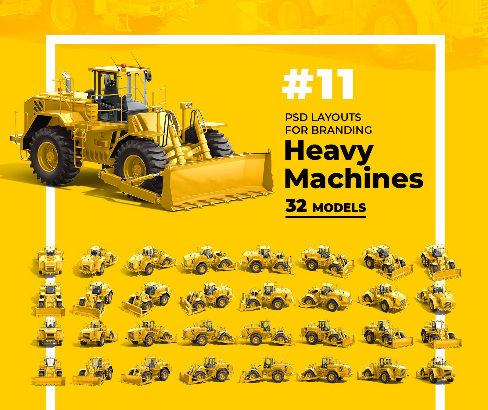 PSD Mockup 3D model Heavy Machines - Wheel Dozer #11