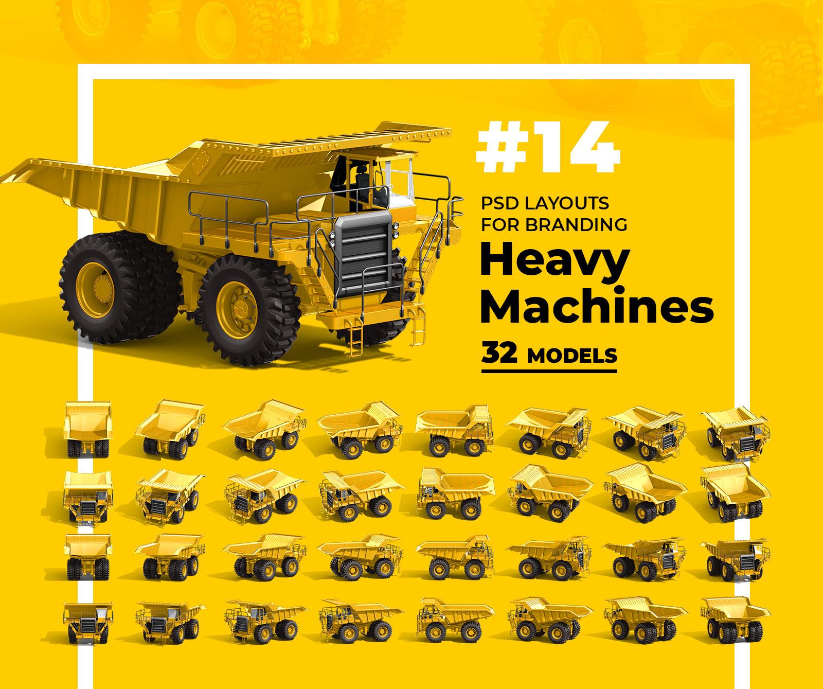 PSD Mockup 3D model Heavy Machines - Off-Highway Truck #14