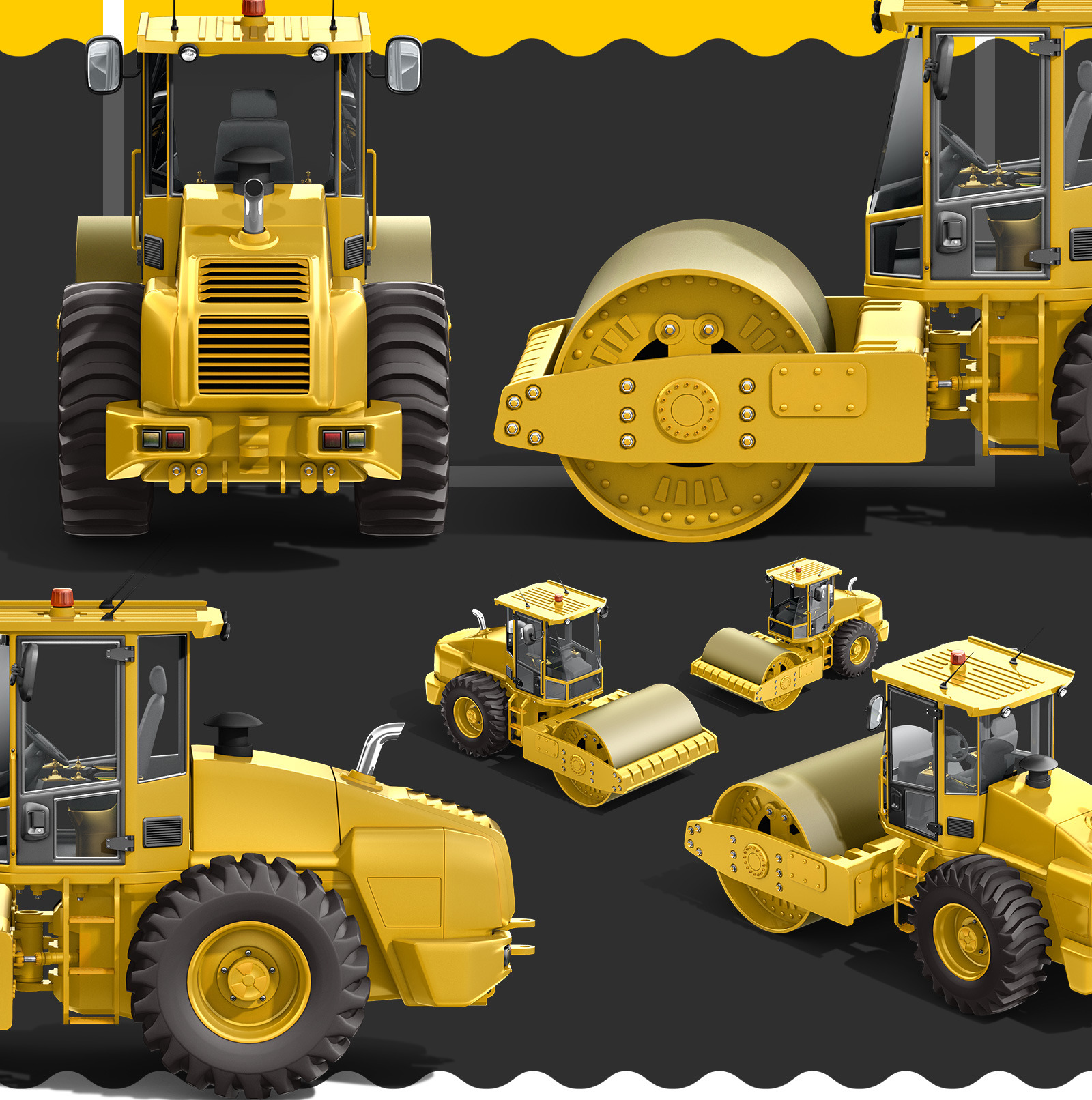 PSD Mockup 3D model Heavy Machines - Soil Road Roller #19