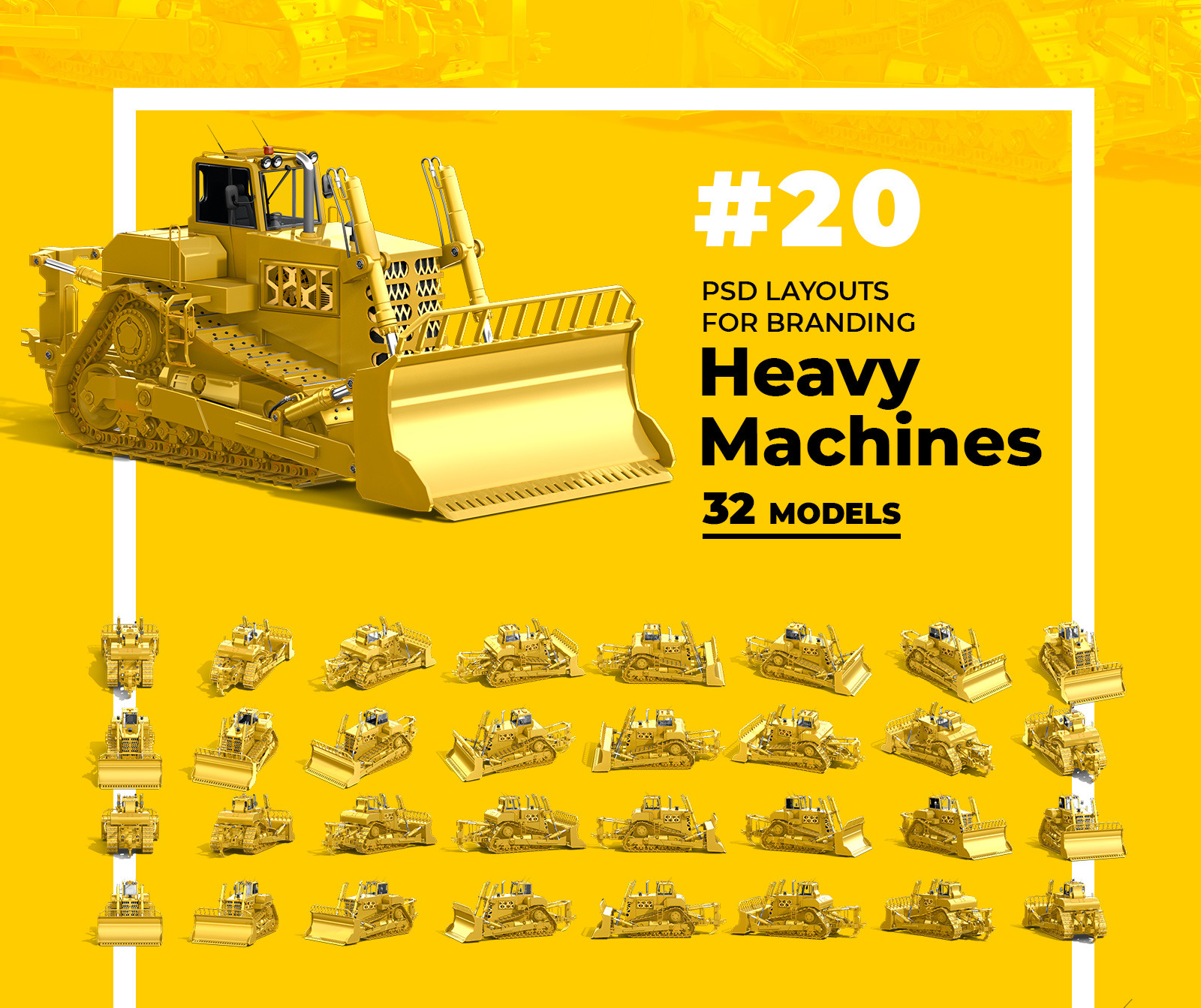 PSD Mockup 3D model Heavy Machines - Track Tractor #20