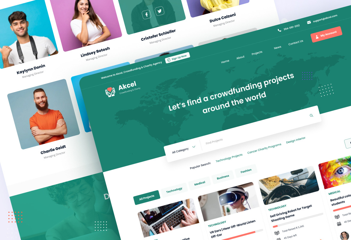 Akcel - Modern Crowdfunding and Charity Website Design Template