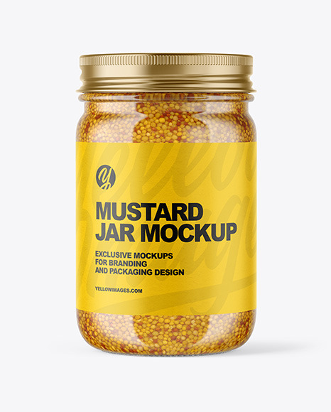 Clear Glass Jar with Wholegrain Mustard Mockup