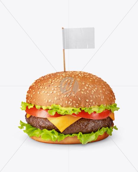 Burger with Flag Mockup