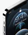 Isometric Apple iPhone 12 Pro Max Silver Mockup