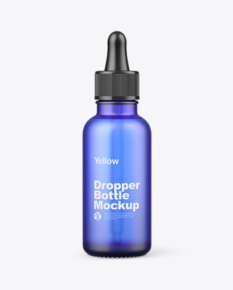 Frosted Blue Glass Dropper Bottle Mockup