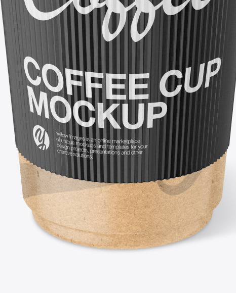 Kraft Coffee Cup with Paper Holder Mockup