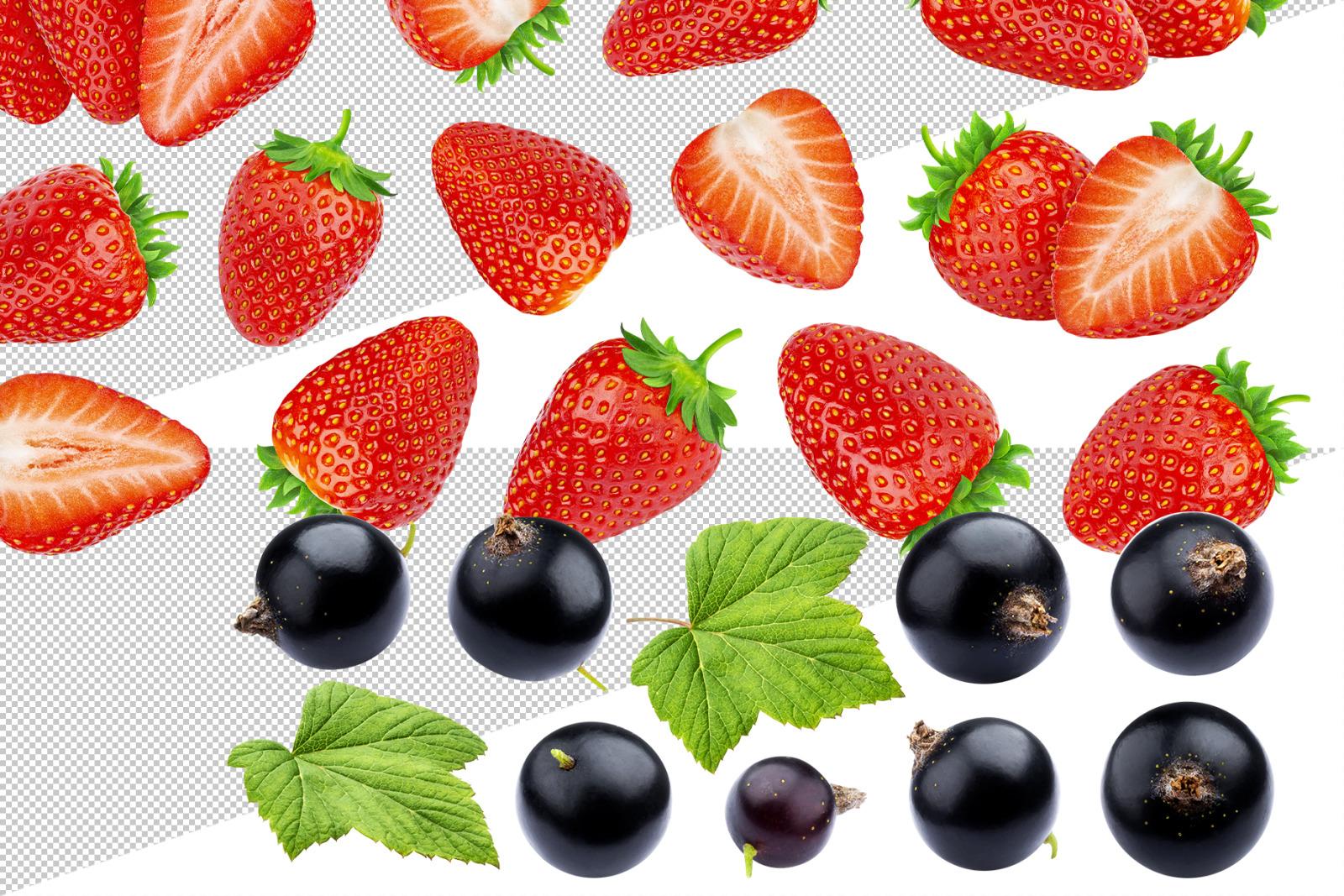 Berry set on transparent background