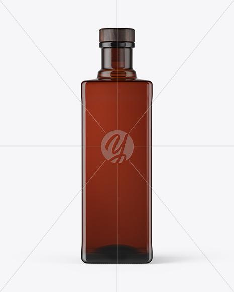 Square Dark Glass Bottle Mockup