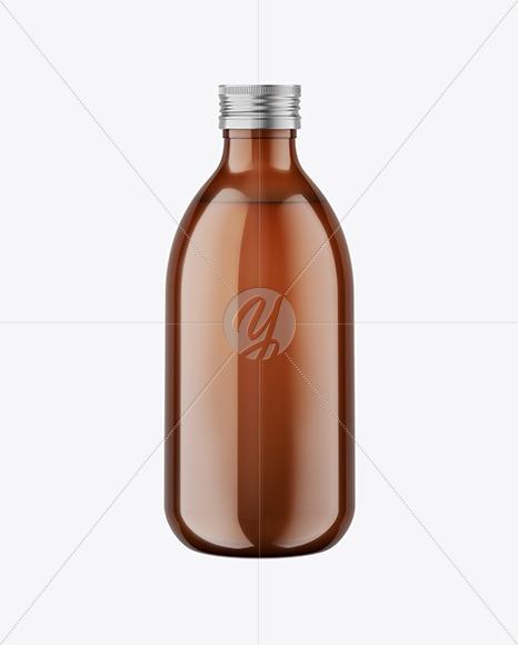 Amber Glass Bottle with Metallic Cap Mockup