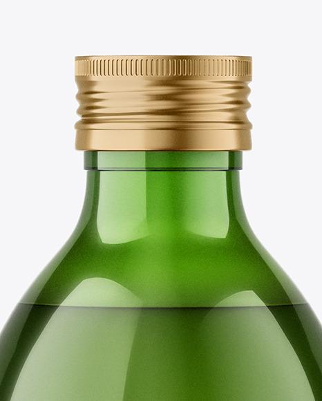 Green Glass Bottle with Metallic Cap Mockup