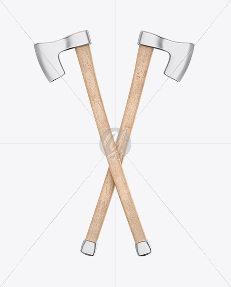 Two Wooden Axes Mockup