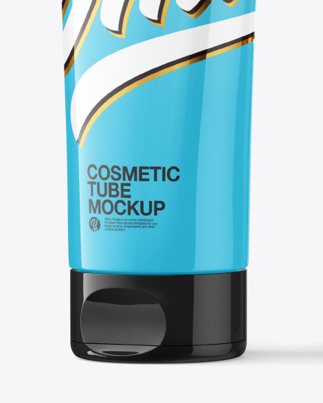 Glossy Cosmetic Tube with Box Mockup