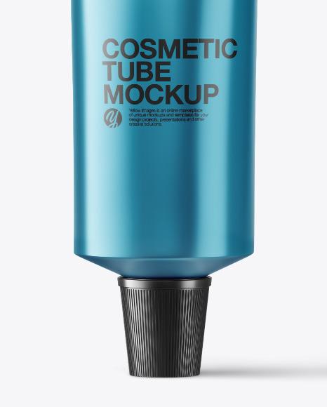 Metallic Cosmetic Tube with Box Mockup