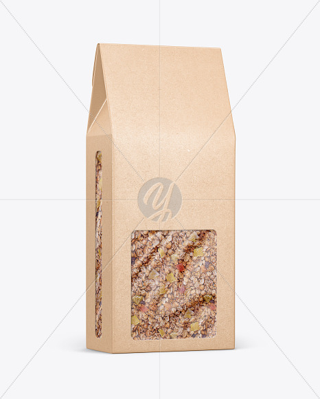 Kraft Paper Box With Muesli Mockup