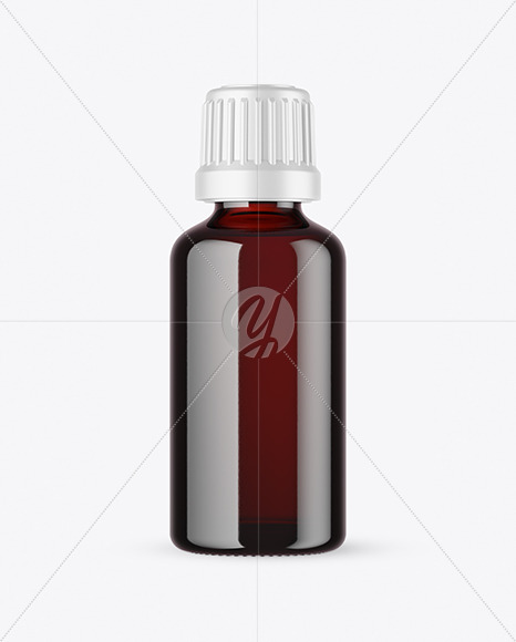 50ml Dark Amber Glass Bottle Mockup