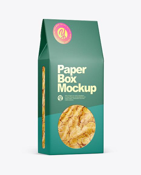 Paper Box With Corn Flakes Mockup