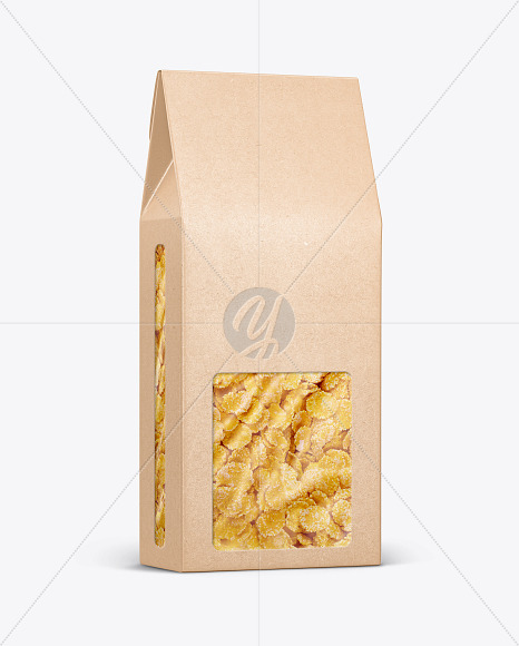 Kraft Paper Box With Corn Flakes Mockup