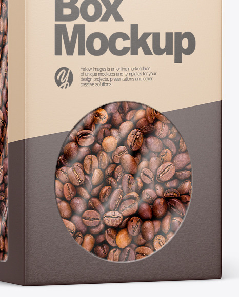 Paper Box With Coffee Beans Mockup