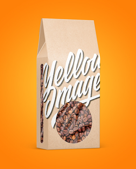 Kraft Paper Box With Coffee Beans Mockup