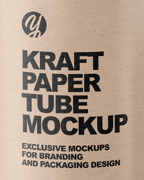 Kraft Tube with Straws Mockup