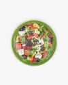 Plastic Bowl With Greek Salad Mockup