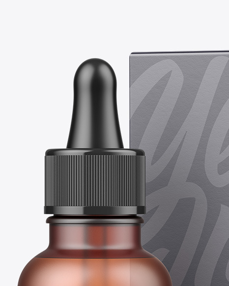 Frosted Amber Glass Dropper Bottle w/ Paper Box Mockup