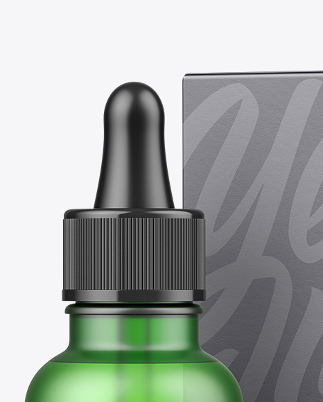 Frosted Green Glass Dropper Bottle w/ Paper Box Mockup
