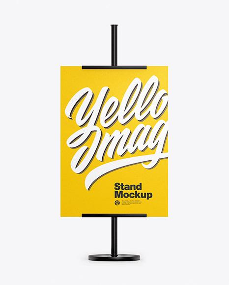 Metallic Stand w/ Paper Banner Mockup