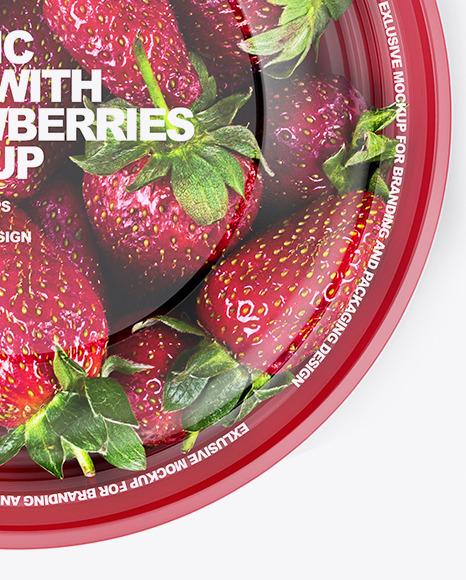 Plastic Bowl with Strawberries Mockup