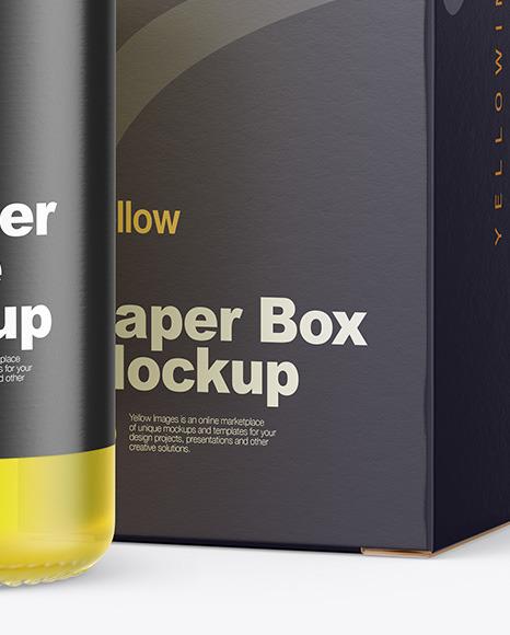 Frosted Glass Dropper Oil Bottle w/ Paper Box Mockup