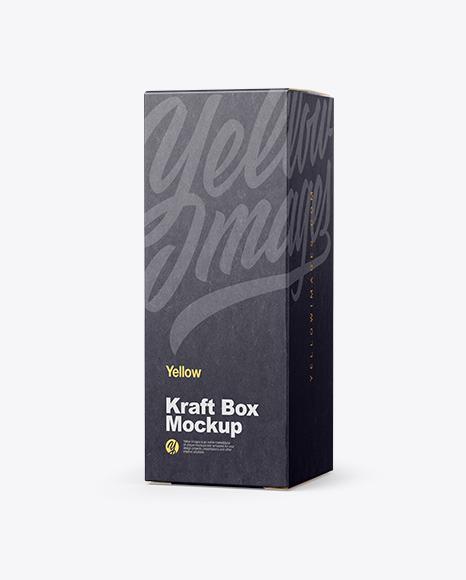 Green Glass Dropper Bottle w/ Kraft Box Mockup