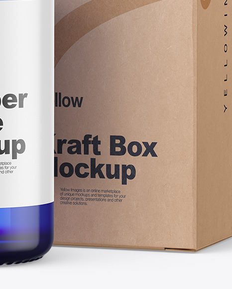 Blue Glass Dropper Bottle w/ Kraft Box Mockup