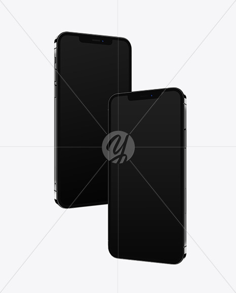 Two Apple iPhones 12 Pro Max Graphite Mockup