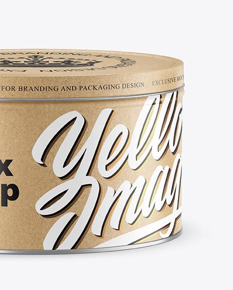 Kraft Round Tin Box Mockup