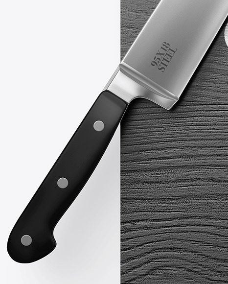 Wooden Cutting Board w/ Metallic Knife Mockup