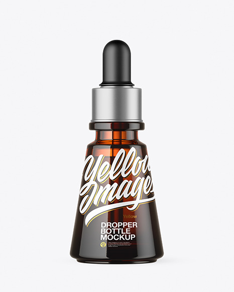 Amber Glass Dropper Bottle Mockup