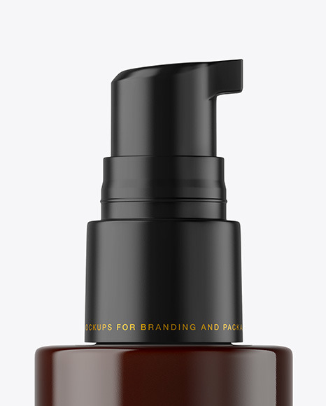 Dark Amber Cosmetic Bottle with Pump Mockup