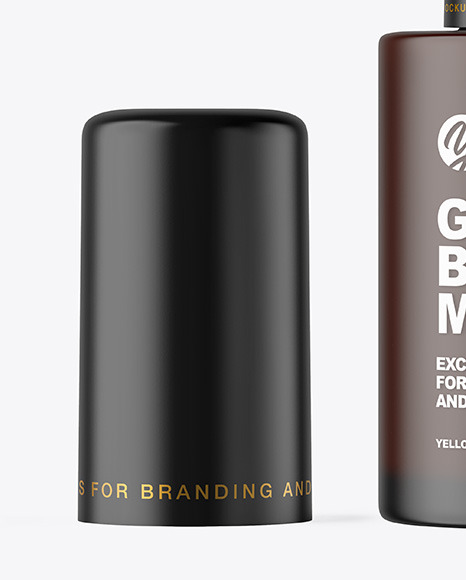 Frosted Dark Amber Cosmetic Bottle with Pump Mockup