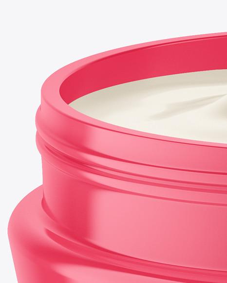 Opened Glossy Cosmetic Jar Mockup
