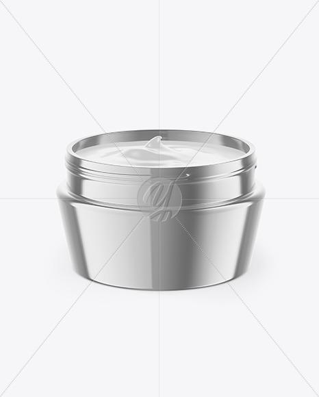 Opened Glossy Metallic Cosmetic Jar Mockup