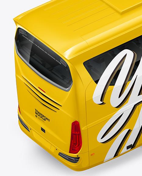 Bus Mockup - Back Half Side View (High-Angle Shot)
