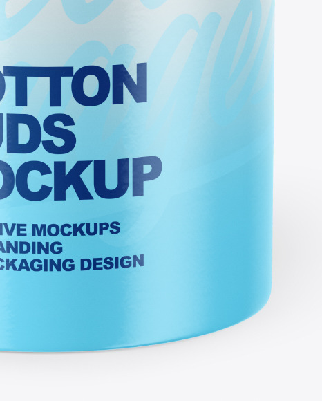 Round Box with Cotton Buds Mockup
