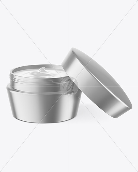 Opened Matte Metallic Cosmetic Jar Mockup