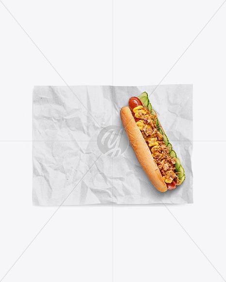 Download Papper Wrapper With Hot Dog Mockup Free Mockups